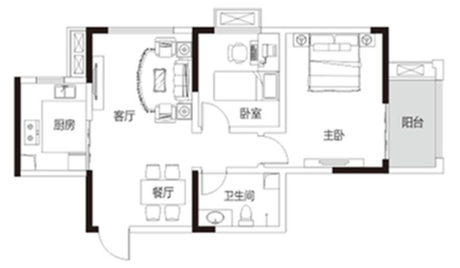 两室两厅一卫 约82�O 【君河湾二】两室两厅一卫 约82�O