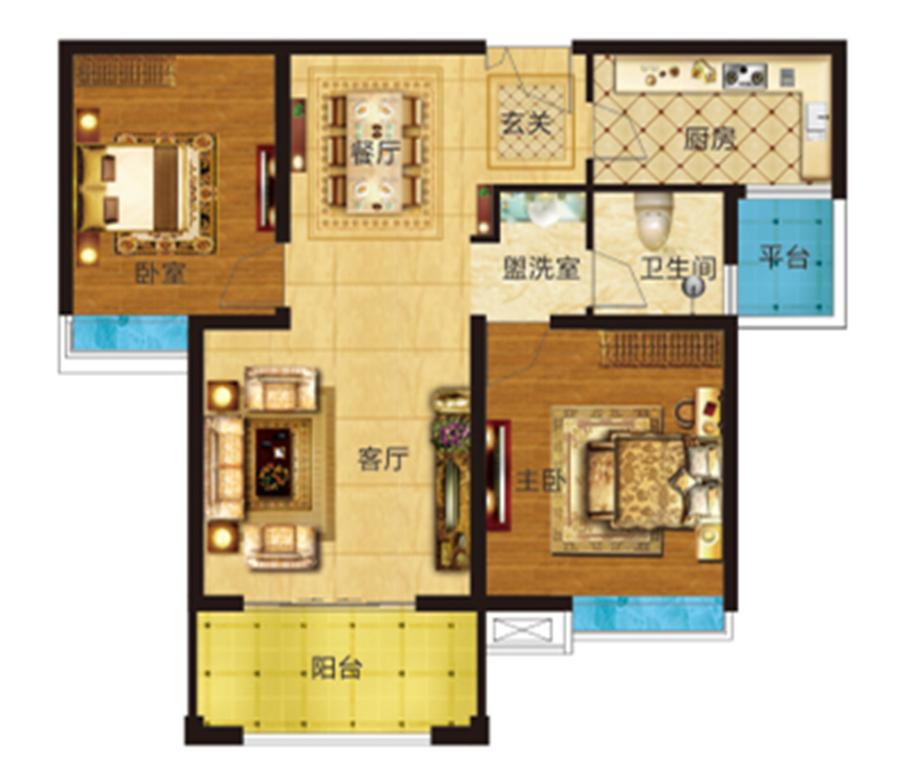 两室两厅 约94�O 【君河湾二】两室两厅 约94�O