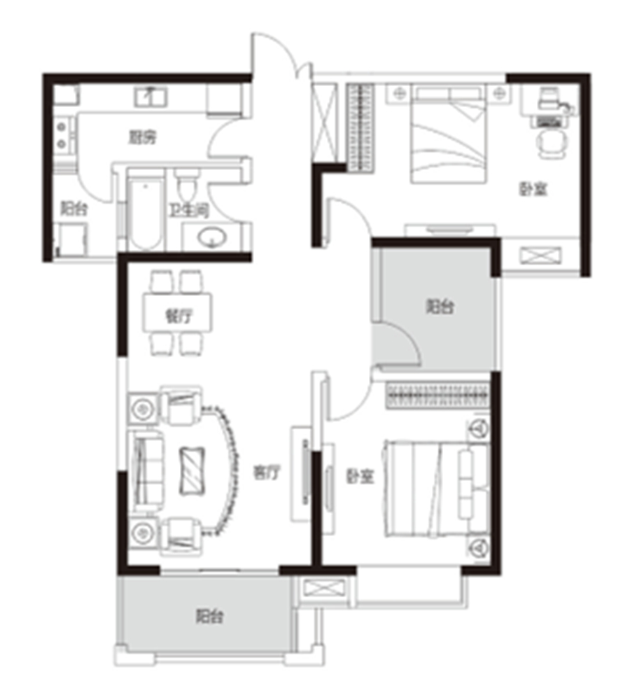 两室两厅 约105�O 【君河湾二】两室两厅 约105�O