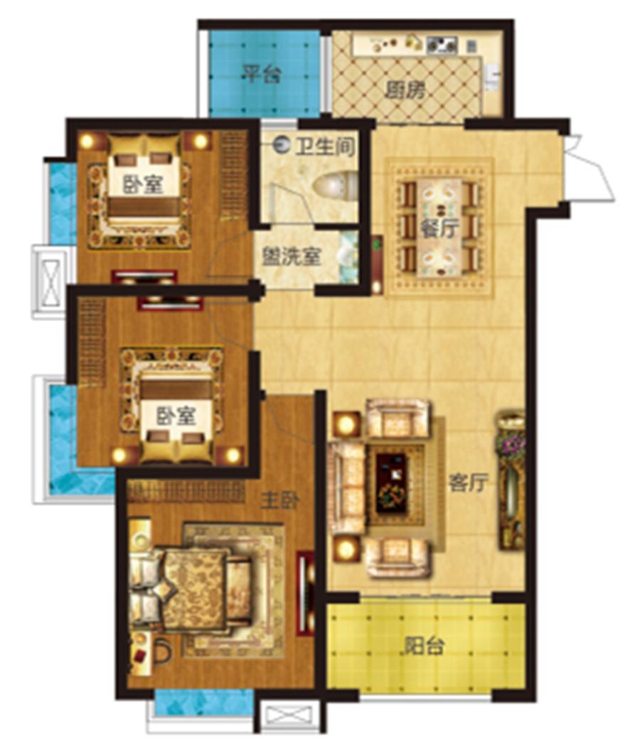 三室两厅一卫 约113�O 【君河湾三】三室两厅一卫 约113�O