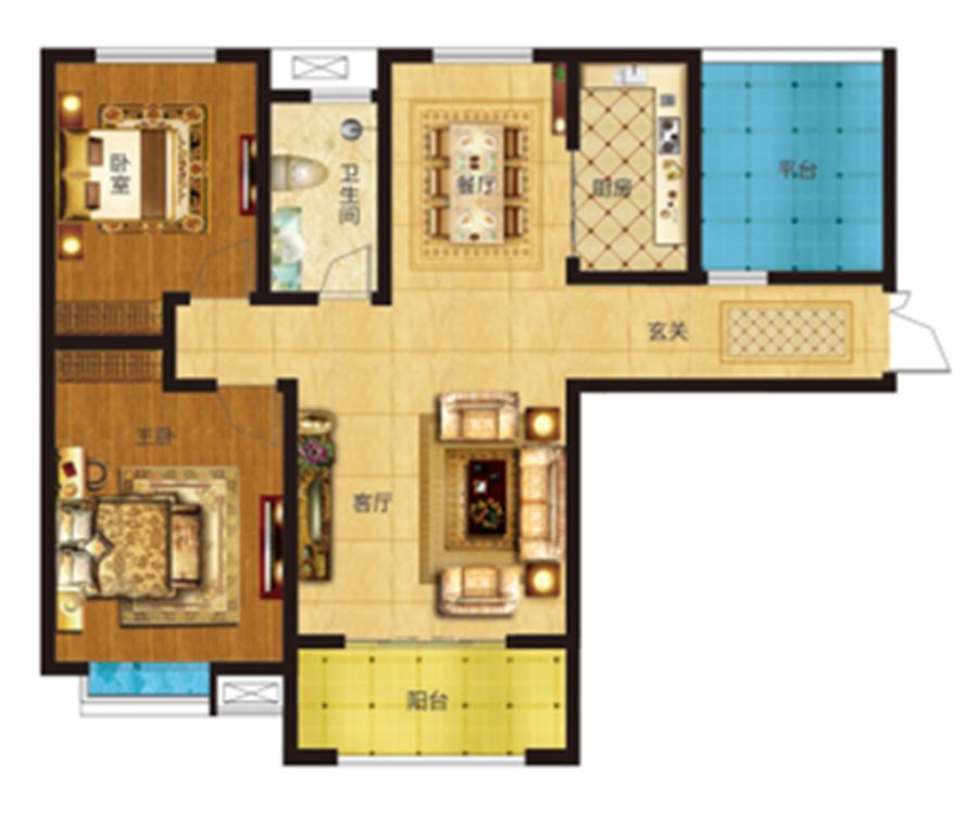两室两厅一卫 约114�O 【君河湾二】两室两厅一卫 约114�O