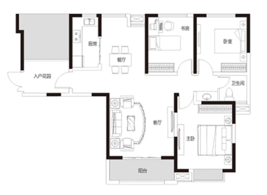 三室两厅 约122�O 【君河湾三】三室两厅 约122�O