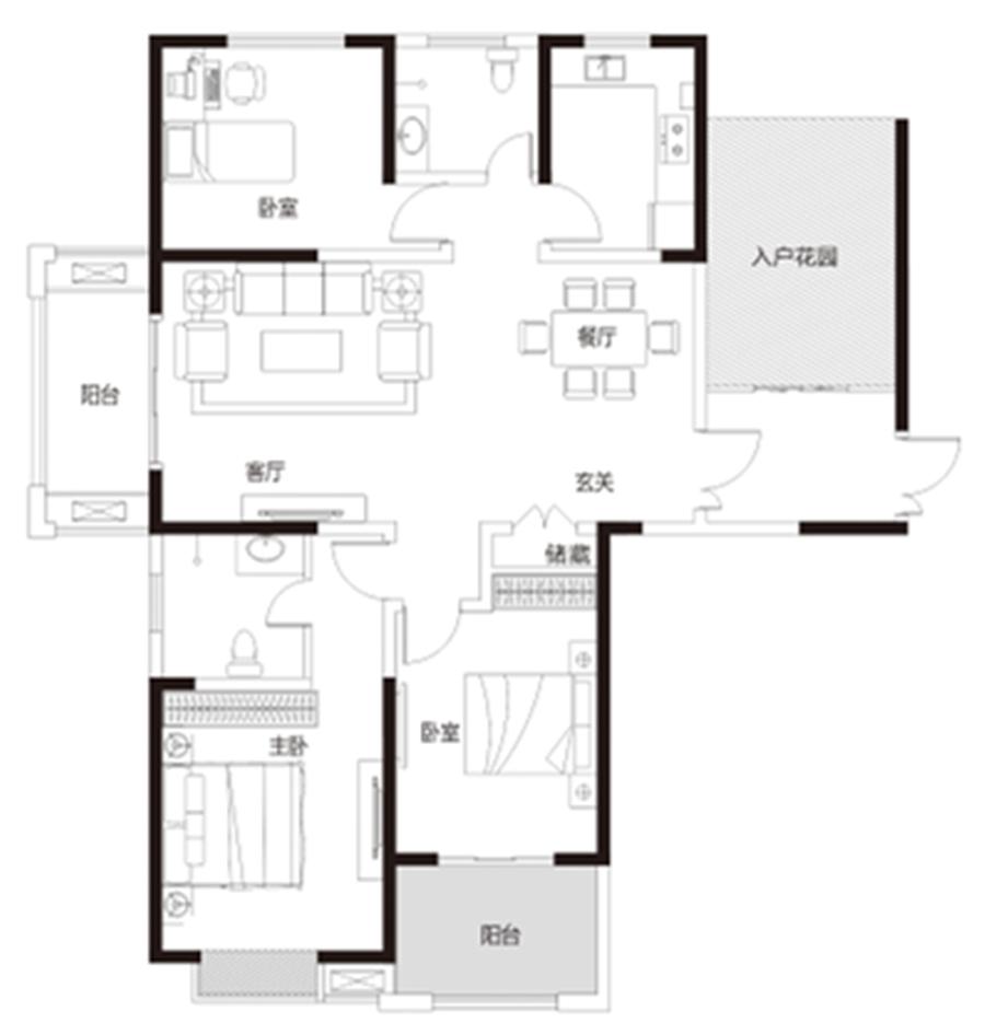 三室两厅两卫 约151�O 【君河湾三】三室两厅两卫 约151�O
