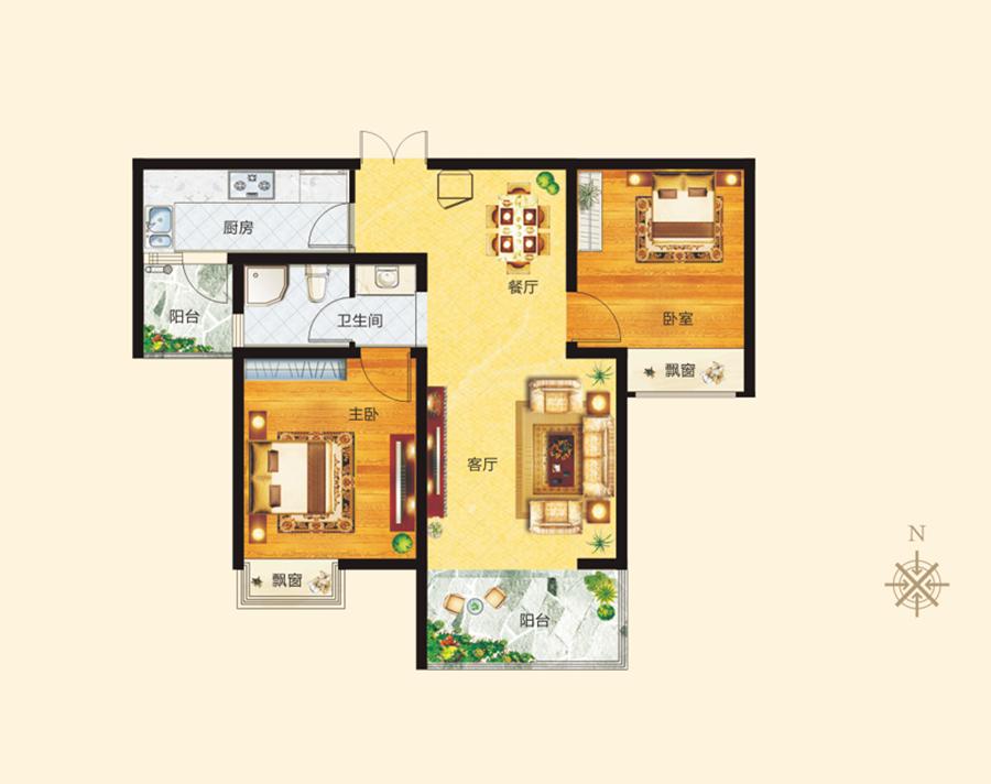 1#4# B户型 两室两厅一卫 约86.52�O【正商城二】1#4# B户型 两室两厅一卫 约86.52�O