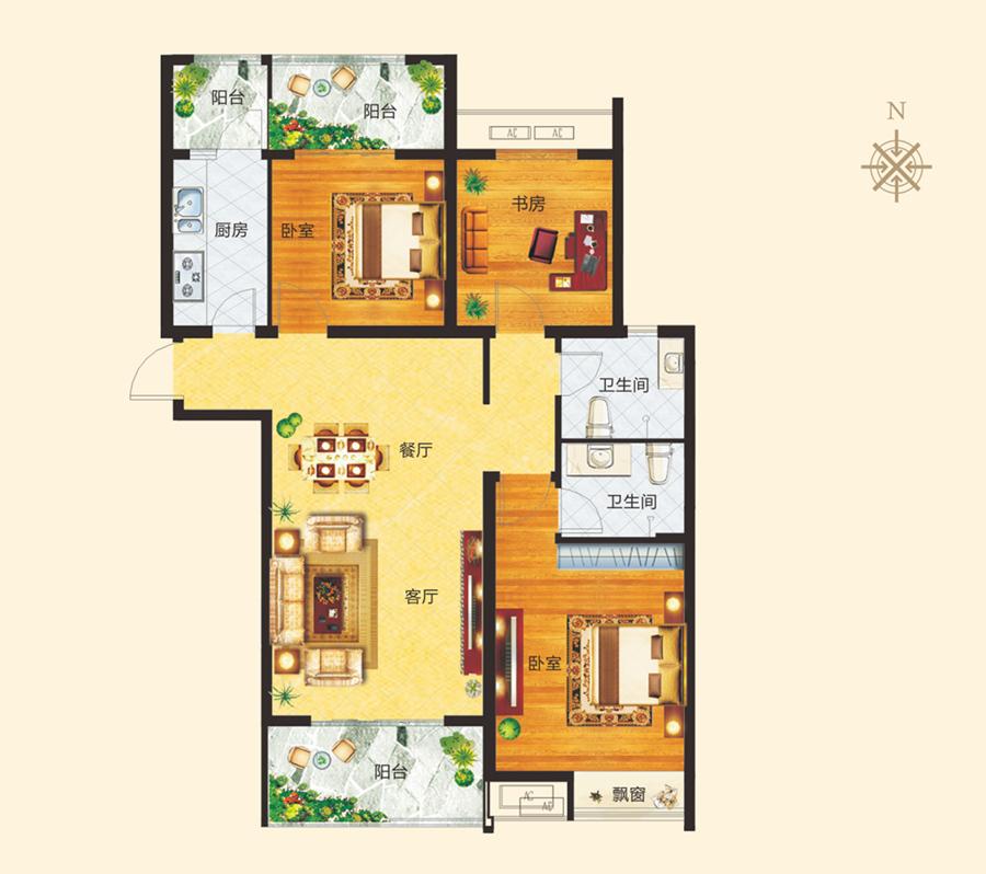 1# C户型 三室两厅两卫 约123.74�O【正商城三】1# C户型 三室两厅两卫 约123.74�O