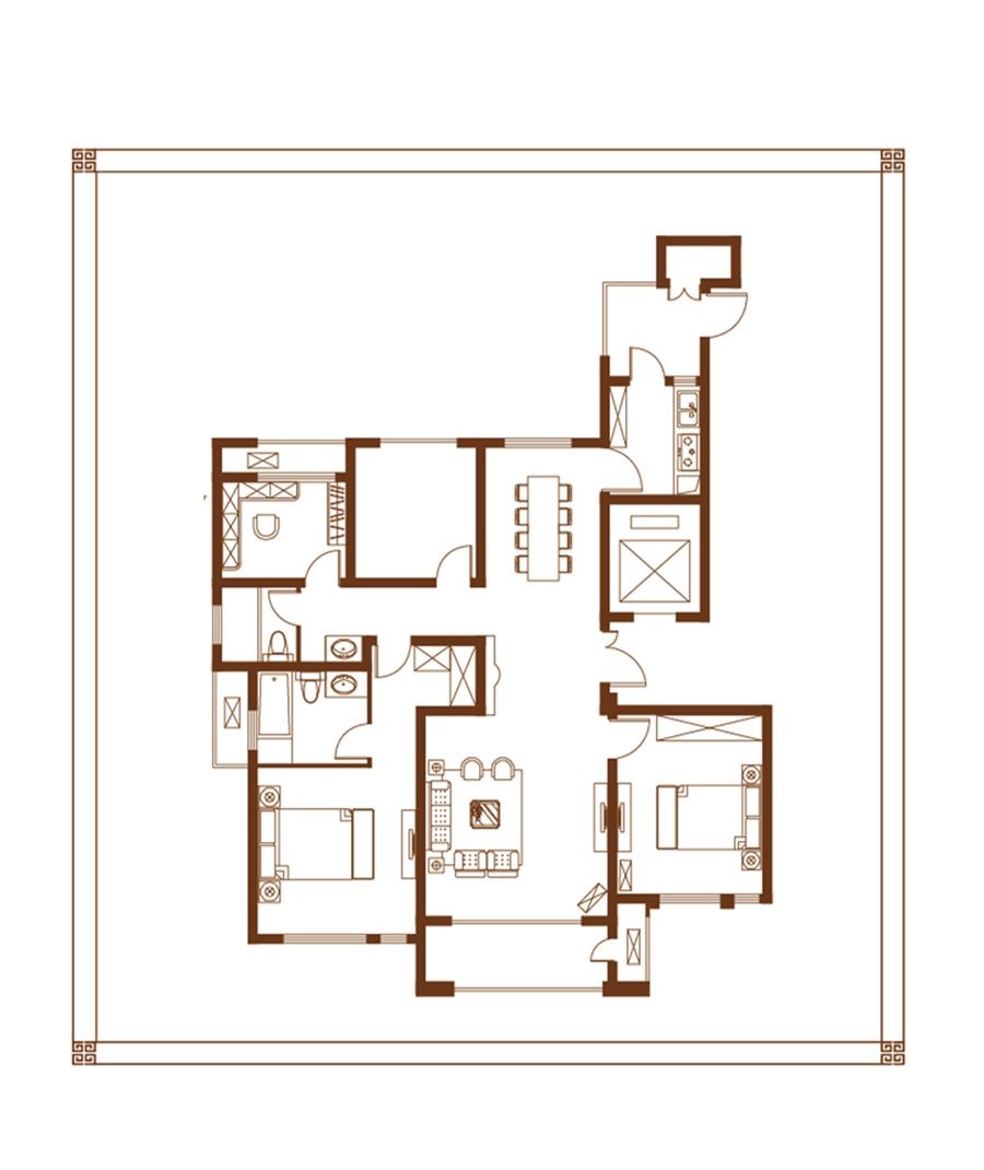 g户型 四室两厅两卫 142㎡【九洲城四】g户型 四室两厅两卫 142㎡