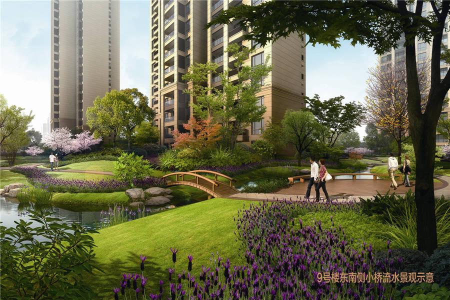 瑞江瀛洲花园9号楼东南侧小桥流水景观图 洛阳瑞江瀛洲花园