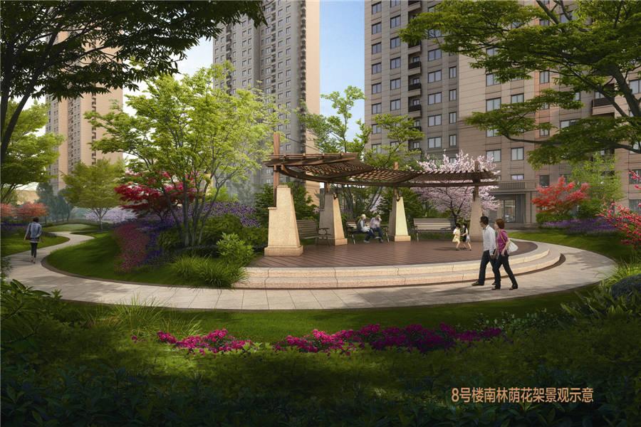 瑞江瀛洲花园8号楼南林荫花架景观图 洛阳瑞江瀛洲花园