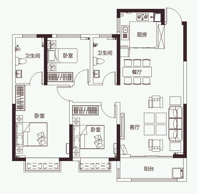 C2'户型 三室两厅两卫123.77�O【开元壹号三】C2'户型 三室两厅两卫123.77�O