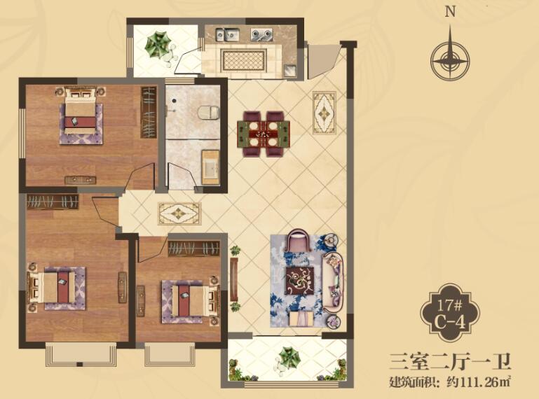 美伦香颂17# c-4-三室二厅一卫一厨(111.26平米)户型