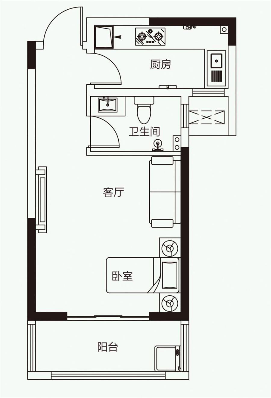 一室一厅一卫【开元壹号一】一室一厅一卫