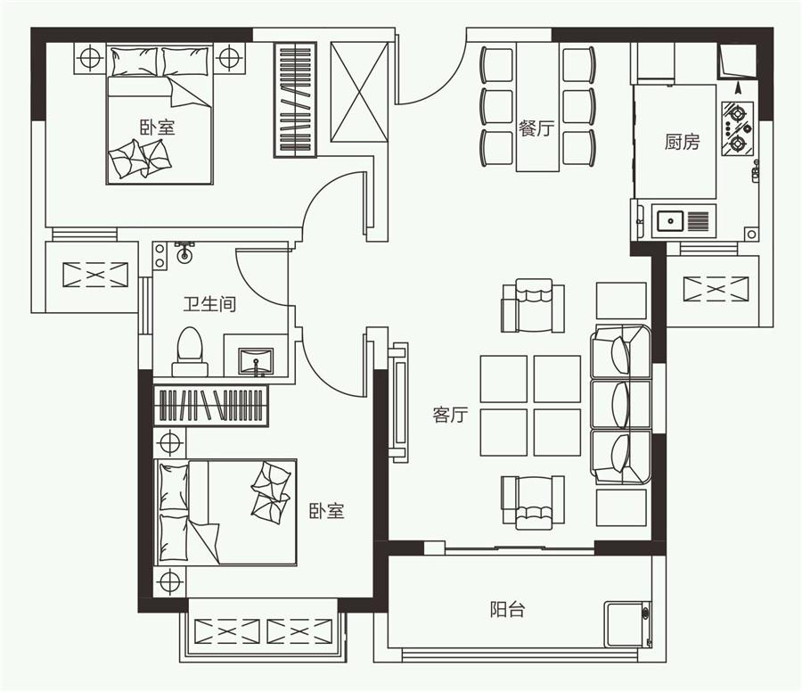 两室两厅一卫【开元壹号二】两室两厅一卫