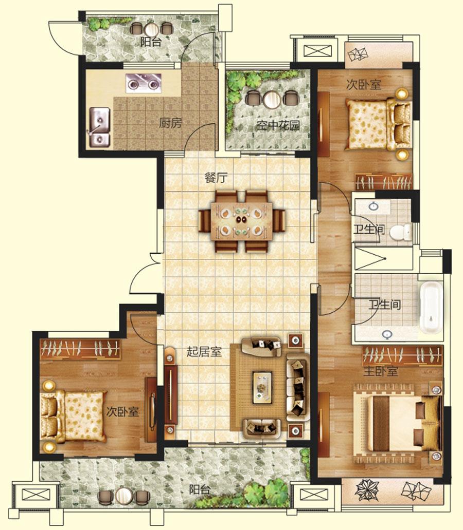 18#楼三室两厅两卫【建业龙城2期三】18#楼三室两厅两卫