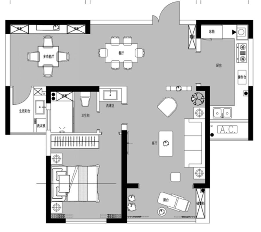 一室三厅一卫【建业桂园一】一室三厅一卫