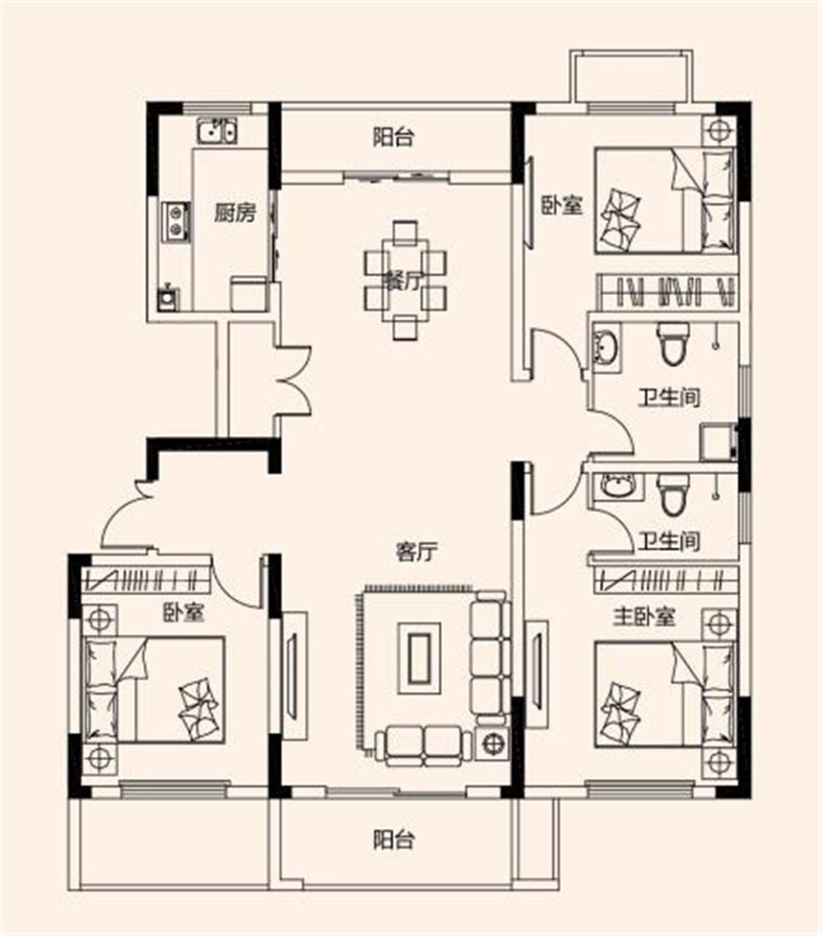 三室两厅两卫【建业桂园三】三室两厅两卫