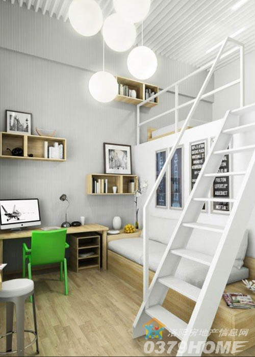 书桌一面靠墙,也充分节省了空间