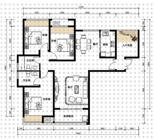 2016四室一厅设计图